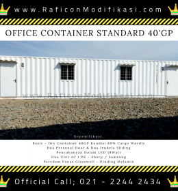 Jual Office Container Standard 40GP Harga Beli Portacamp Port a camp or Modifikasi Kontainer PT Raficon Sarijaya Sales Habib M - 40HC or 40Feet 40Ft - Basic Dry Container 2nd 80% CW - 1 Pintu 2 Jende AC 1PK 2Unit